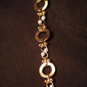 Perlenkette weiß große Glieder